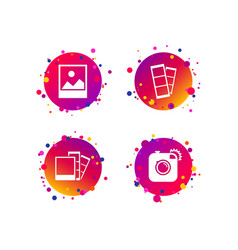photo camera icon flash light and landscape vector image