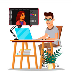 Photographer retouching photo man working vector