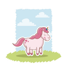 Pink unicorn standing wings happy decoration vector