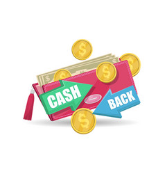 pink wallet with money and cash back symbol vector image
