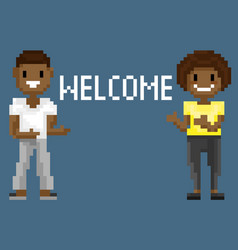 pixel characters shooting welcome to game vector image
