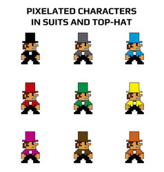 Pixelated characters in suits and top-hat vector