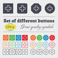 Plus icon sign Big set of colorful diverse vector image