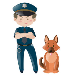 Policeman in uniform standing with dog vector