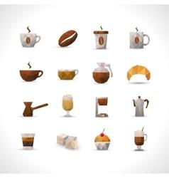 Polygonal Coffee Icons Set vector