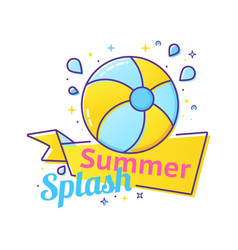 Pool party label with inflatable ball and splash vector