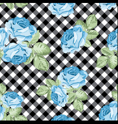 Roses seamless pattern on black and white gingham vector