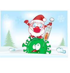 Santa claus character fight with vaccine against vector