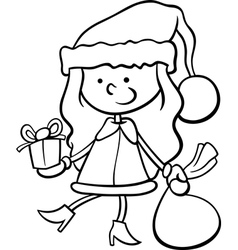 santa claus kid cartoon coloring page vector