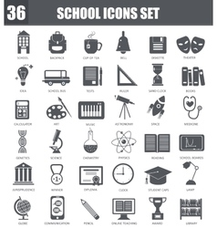 School black icons set Dark grey symbols vector