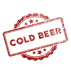 scratched textured cold beer text stamp seal vector image