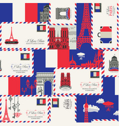 Seamless background on theme france and paris vector