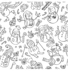 Seamless pattern of doodles snowmen vector