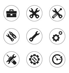 Set 9 editable toolkit icons includes symbols vector