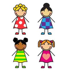 Set Cartoon Girls vector image