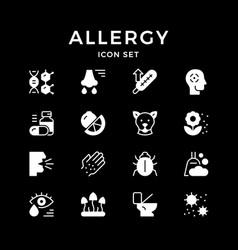 Set glyph icons allergy vector