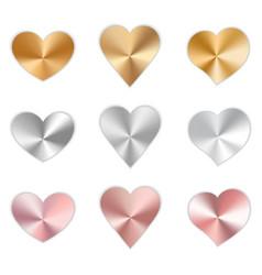 set of metal hearts vector image
