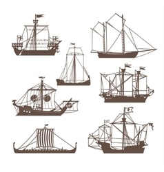 Set of vintage sailing ships vector