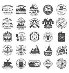set sailing club hunting club and camping vector image