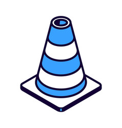 striped road cone isometric icon road works vector image