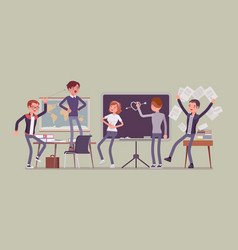 students behaving badly in a classroom making vector image