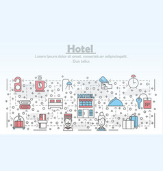 thin line art hotel poster banner template vector image