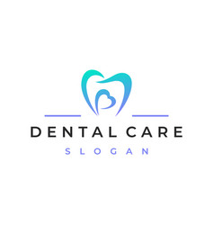 tooth and heart dental care logo design vector image