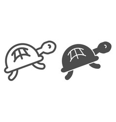 turtle line and glyph icon animal vector image