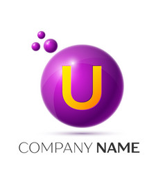 U letter splash purple dots and circle bubble vector