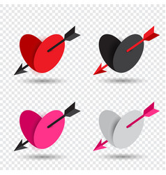 valentine set heart pierced by cupid arrow vector image