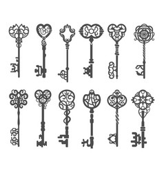 Vintage key silhouette or victorian skeleton key vector