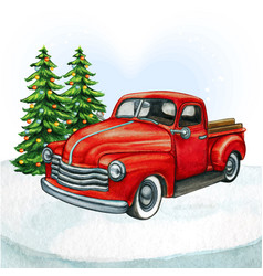Watercolor red pickup vintage truck with vector