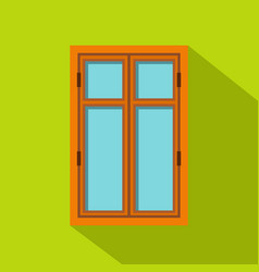 Wooden brown window icon flat style vector