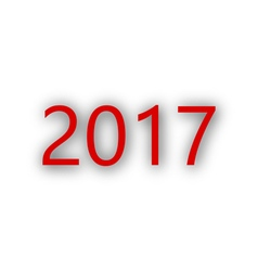 Year 2017 with shade on white vector