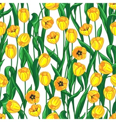 Yellow tulips pattern vector