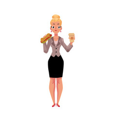 Young blond businesswoman eating sandwich holding vector