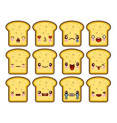 bread slice toast cartoon mascot character funny vector image