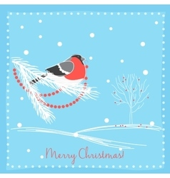 Christmas bullfinch bird on the branch tree vector image vector image