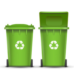 green recycling bin bucket for glass trash vector image