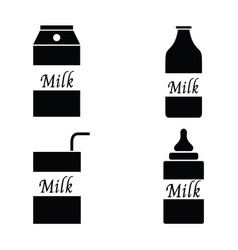 milk packaging icon set vector image vector image