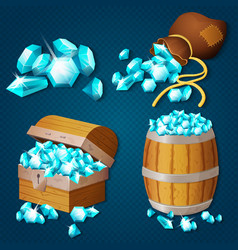 old wooden chest barrel old bag with gems vector image vector image