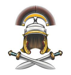 roman empire helmet with swords vector image