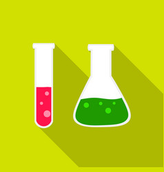 test tube and retort icon flat single education vector image vector image