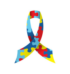 autism awareness ribbon isolated vector image vector image
