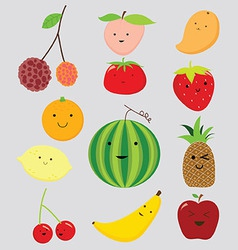 Funny fruits collection vector image
