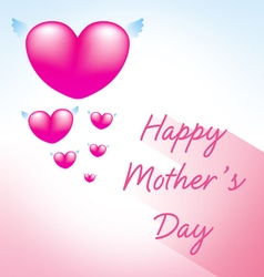 happy mothers day greeting card with heart pink 3 vector image vector image