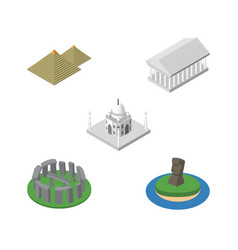 Isometric travel set of egypt chile athens and vector