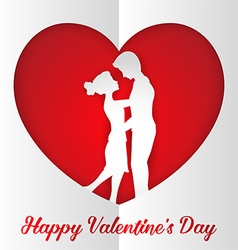 Romantic couple inside paper heart vector image
