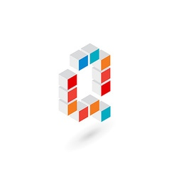 3d cube letter q logo icon design template vector