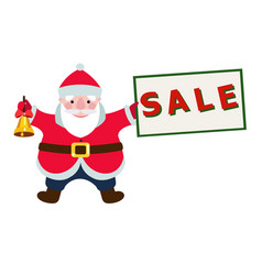 cartoon santa claus with a sale sign vector image vector image